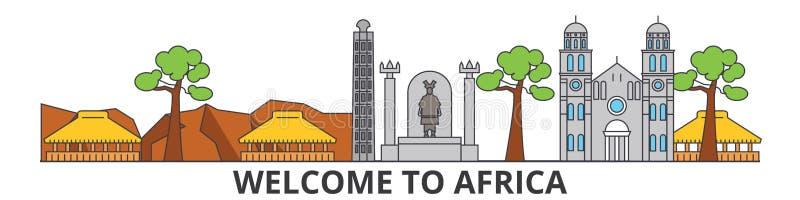 Afrika översiktshorisont, plan tunn linje symboler, gränsmärken, illustrationer för afrikan Afrika cityscape, afrikansk loppstad royaltyfri illustrationer