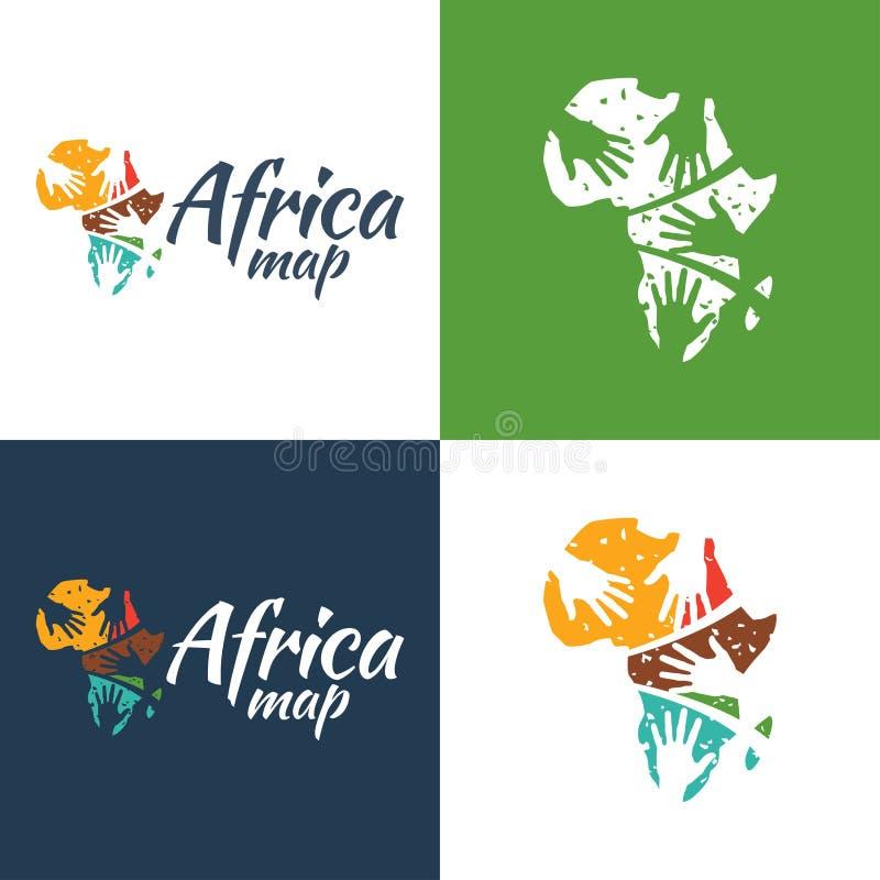 Afrika översiktssymbol och logo vektor illustrationer