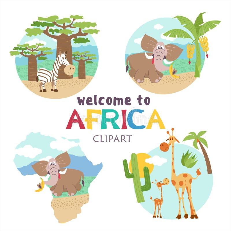 afrika Afrikaanse dieren en planten Reeks vectorillustraties in beeldverhaalstijl royalty-vrije illustratie