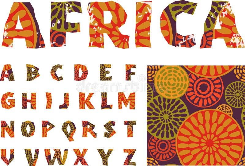 Afrika - alfabet och modell royaltyfri illustrationer