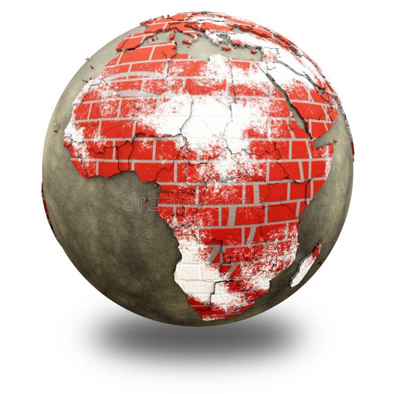 Afrika auf Backsteinmauer Erde vektor abbildung