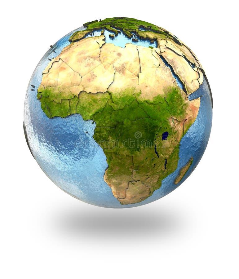 Afrika auf Erde lizenzfreie abbildung