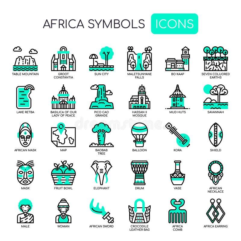 Afrika beståndsdelar, perfekta symboler för PIXEL royaltyfri illustrationer