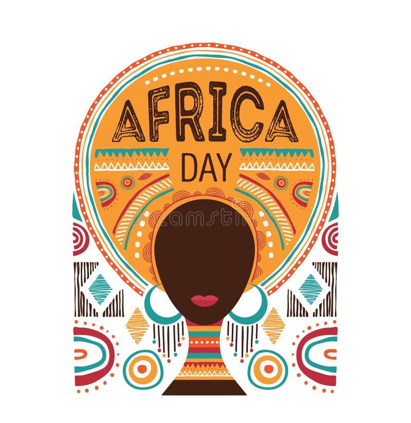 Afrika dag, vektorillustration med den afrikanska kvinnan, stamprydnader och modeller stock illustrationer