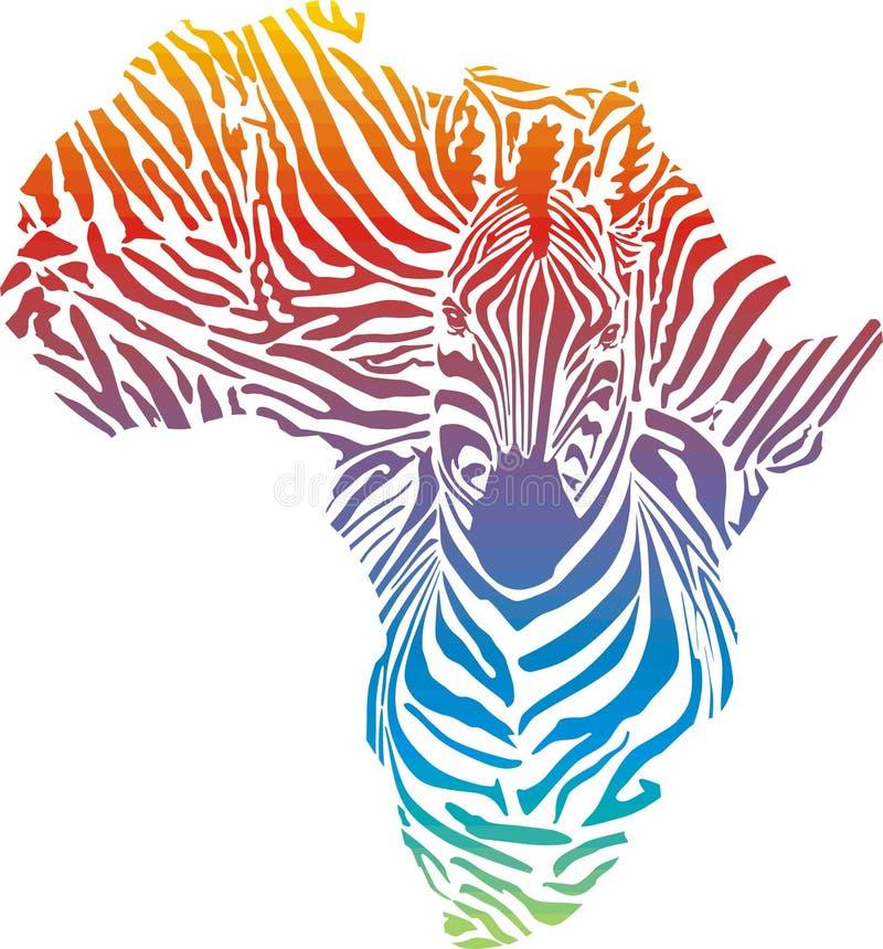 Afrika in der Regenbogenzebratarnung lizenzfreie abbildung