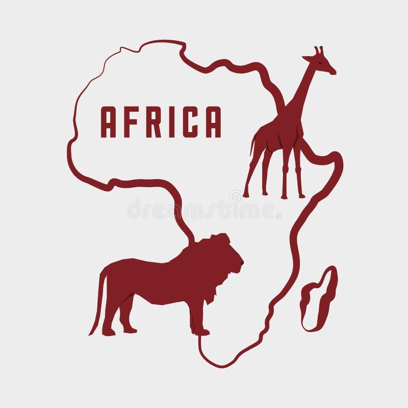 Afrika design översiktsformsymbol djurillustration vektor illustrationer