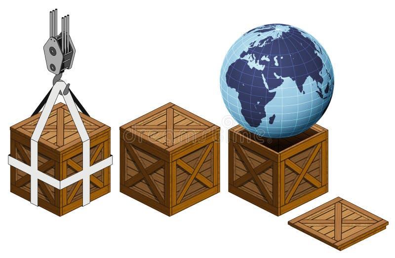 Afrika-Erdwelt in der offenen Verpackungssammlung der hölzernen Kiste vektor abbildung