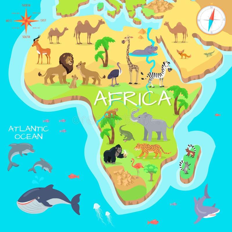 Afrika-Festland-Karikatur-Karte mit Fauna-Spezies lizenzfreie abbildung