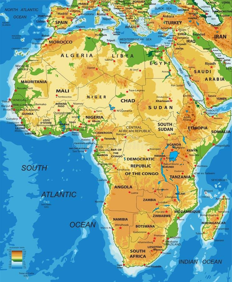 Afrika-fysieke kaart stock illustratie