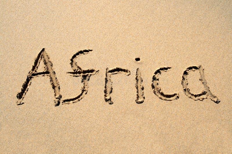 Afrika, geschrieben auf einen Strand stock abbildung