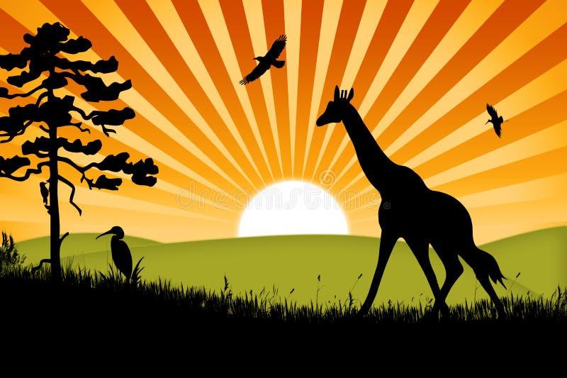 Afrika-Giraffehintergrund lizenzfreie abbildung