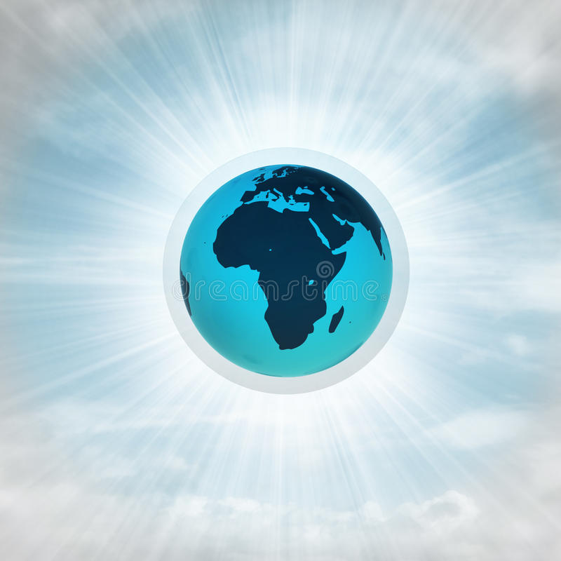 Afrika jordjordklot i glansig bubbla i luften med signalljuset stock illustrationer