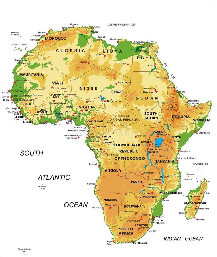Afrika-körperliche Karte lizenzfreie abbildung
