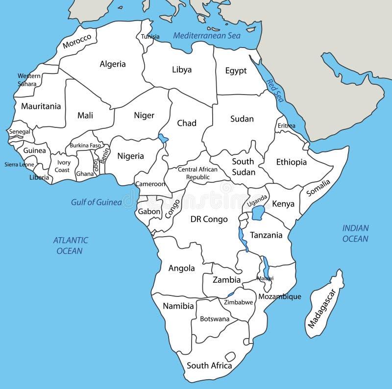 Afrika - kaart royalty-vrije illustratie