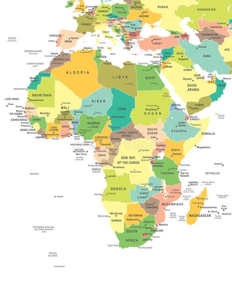 Afrika - kaart - illustratie royalty-vrije illustratie