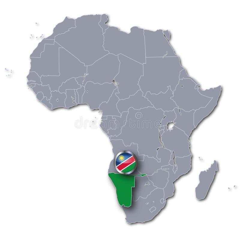 Afrika-Karte mit Namibia lizenzfreie abbildung