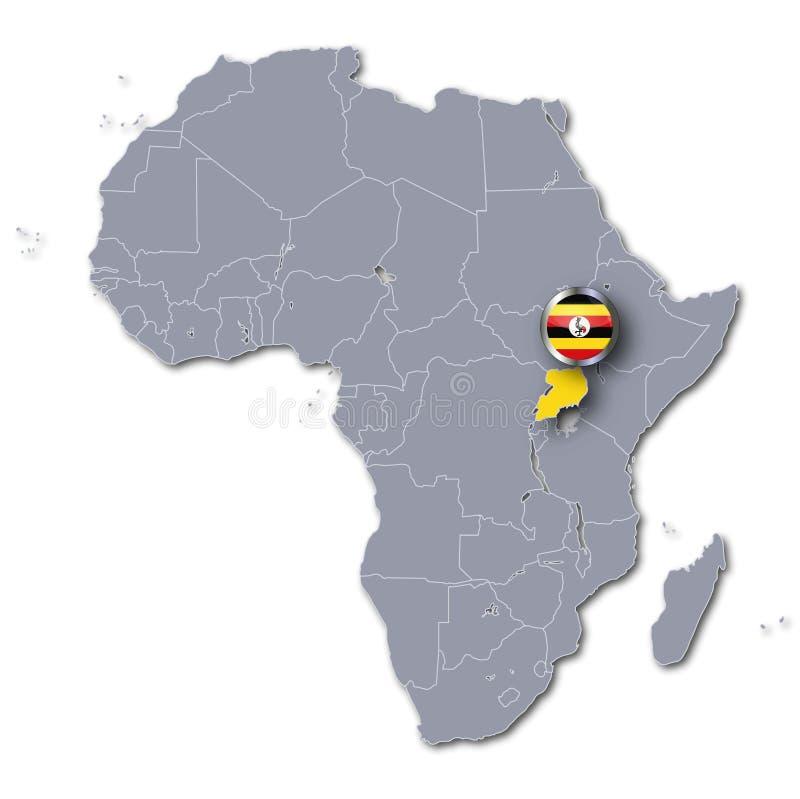 Afrika-Karte mit Uganda lizenzfreie abbildung