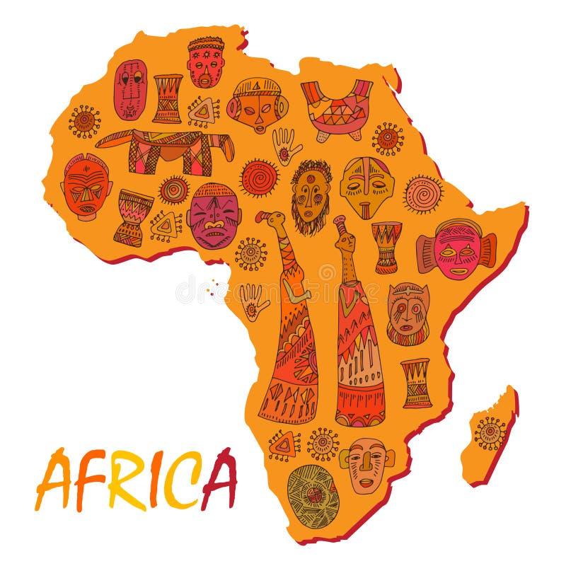 Afrika-Karte mit verschiedenen alten Symbolen und Zeichen vektor abbildung
