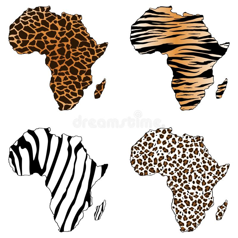 Afrika, Karte von Afrika mit Tierdrucken vektor abbildung