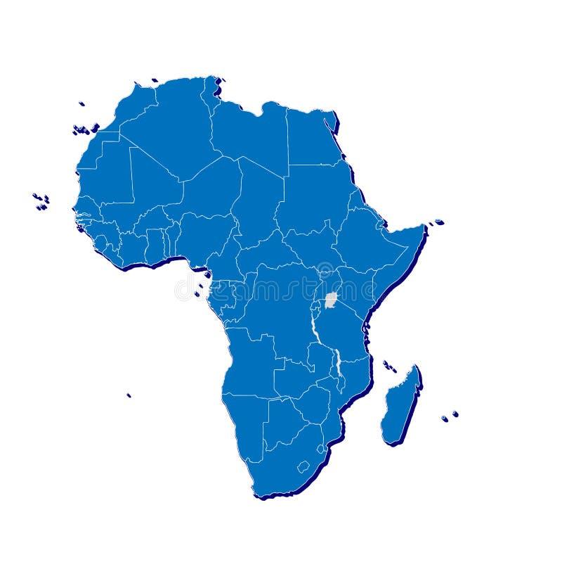 Afrika kartlägger i 3D royaltyfri illustrationer
