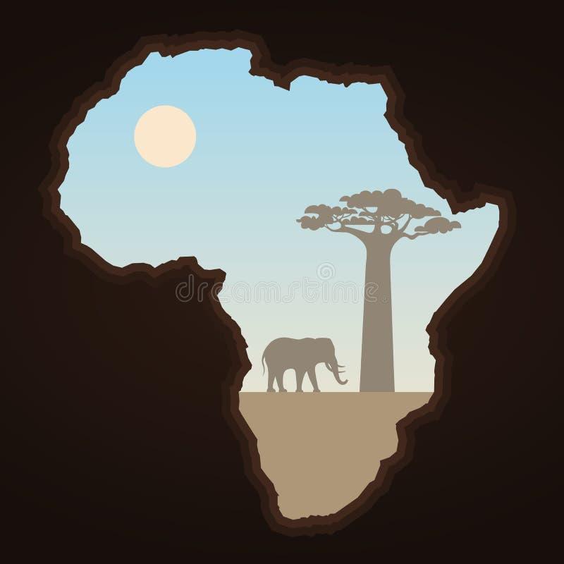 Afrika kontinent och landskap royaltyfri illustrationer