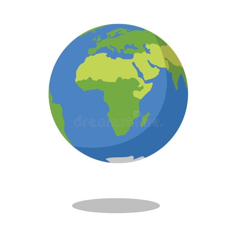 Afrika lokalisierte auf Vektorillustration Ikone Planet des weißen Hintergrundes flacher Erd stock abbildung
