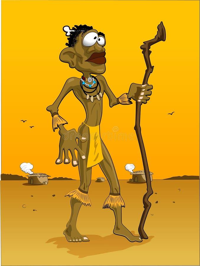 Afrika-Mann/orange Hintergrund lizenzfreie abbildung