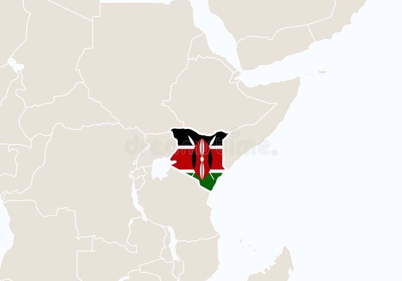 Afrika med den markerade Kenya översikten vektor illustrationer