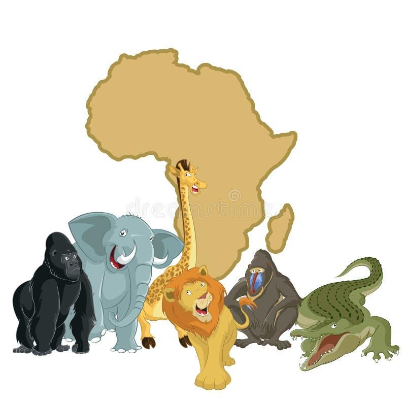 Afrika mit Tieren lizenzfreie abbildung
