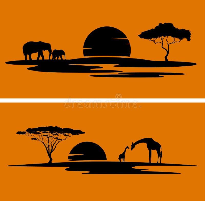 Afrika monokromt landskap vektor illustrationer