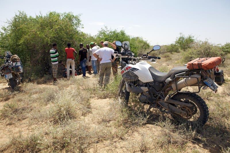 Afrika motorbikeexpedition royaltyfria bilder