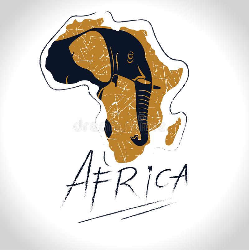 Afrika och safari med elefantlogoen 3 royaltyfri illustrationer