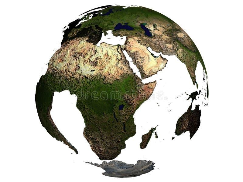 Afrika op een aardebol stock illustratie