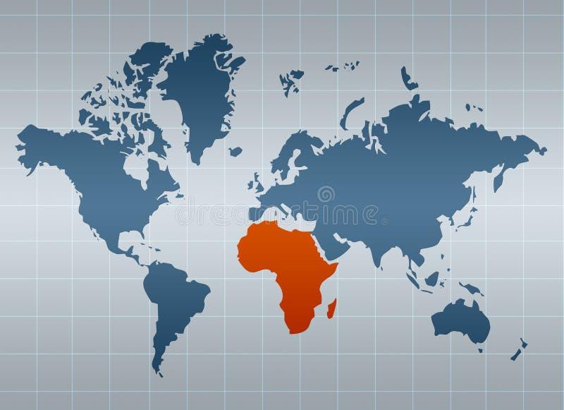 Afrika op kaart van de wereld vector illustratie
