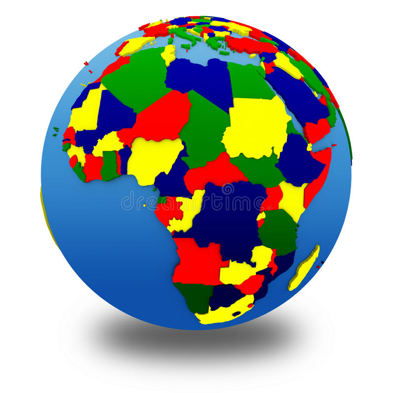 Afrika på politisk modell av jord vektor illustrationer