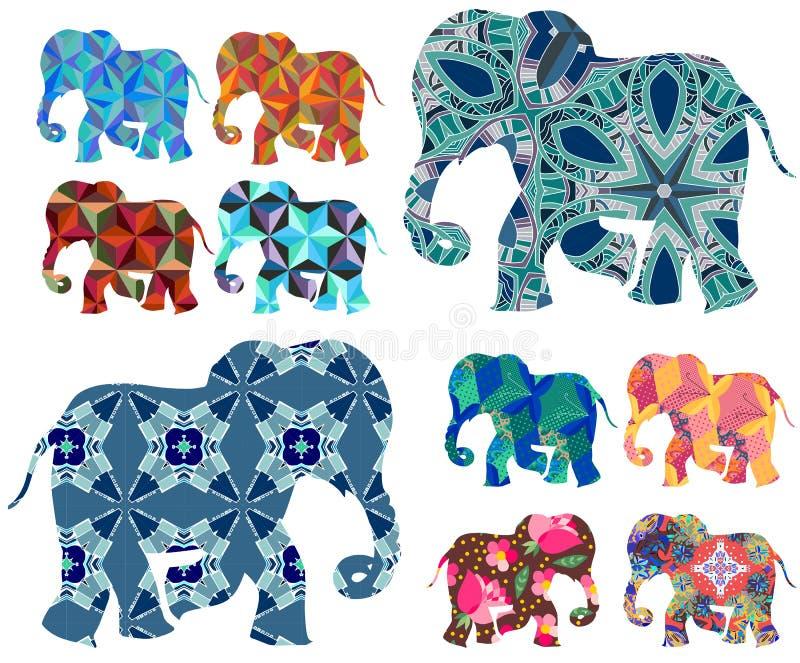afrika patchwork Schöne Elefanten auf weißem Hintergrund stock abbildung