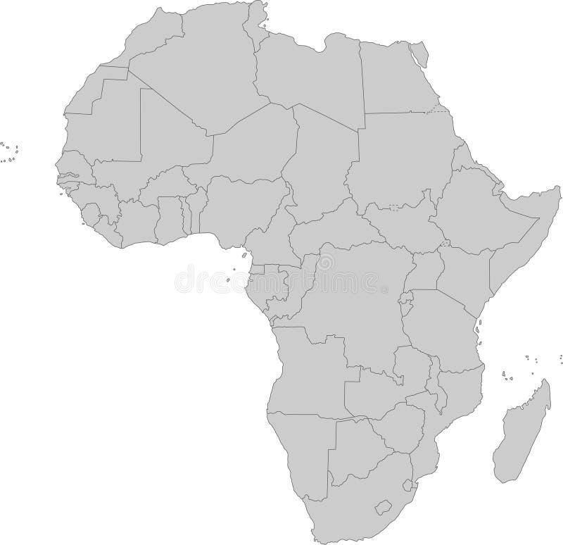 Afrika - Politieke Kaart van Afrika vector illustratie