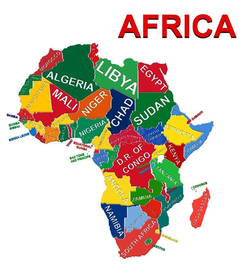 Afrika-politische Karte lizenzfreie abbildung