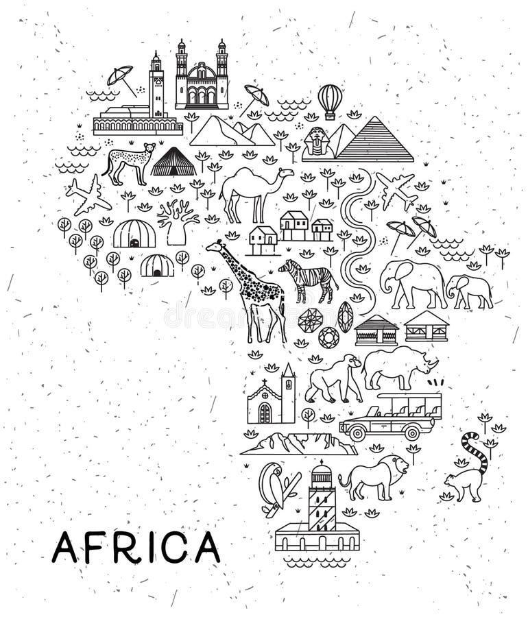Afrika-Reise-Linie Ikonen zeichnen auf Reise-Plakat mit Tieren und Besichtigungsanziehungskräften Inspirierend Vektorillustration lizenzfreie abbildung