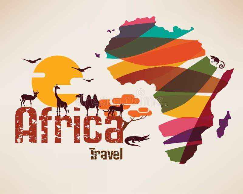 Afrika-Reisekarte, decrative Symbol lizenzfreie abbildung