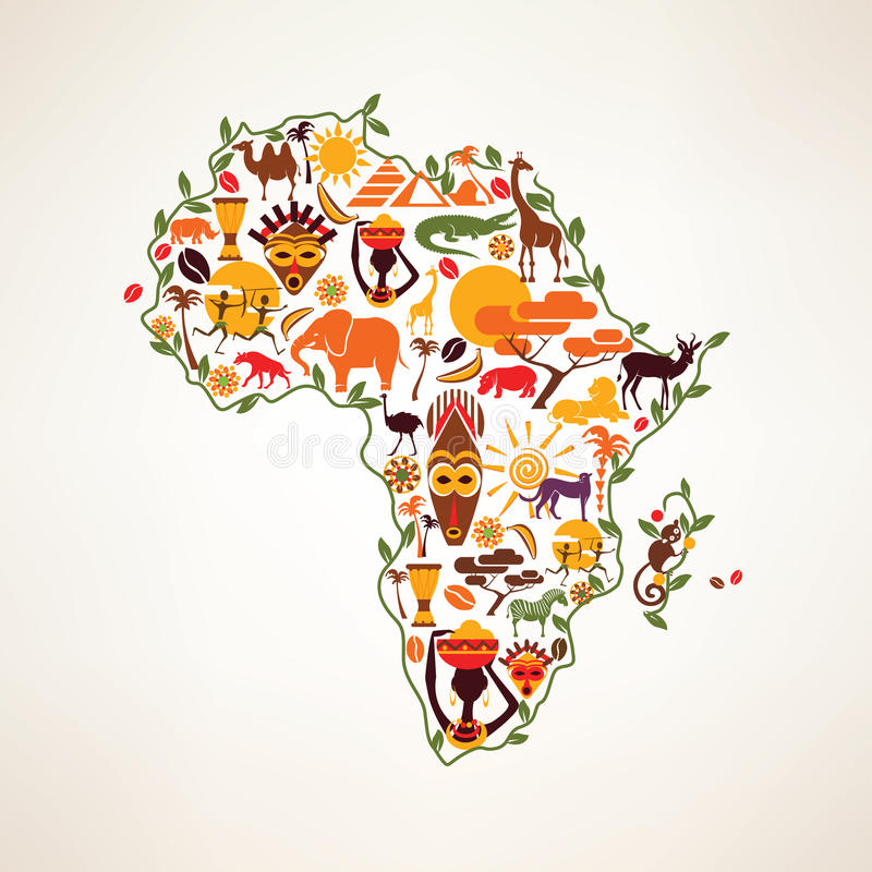 Afrika-Reisekarte, decrative Symbol von Afrika-Kontinent mit eth stock abbildung
