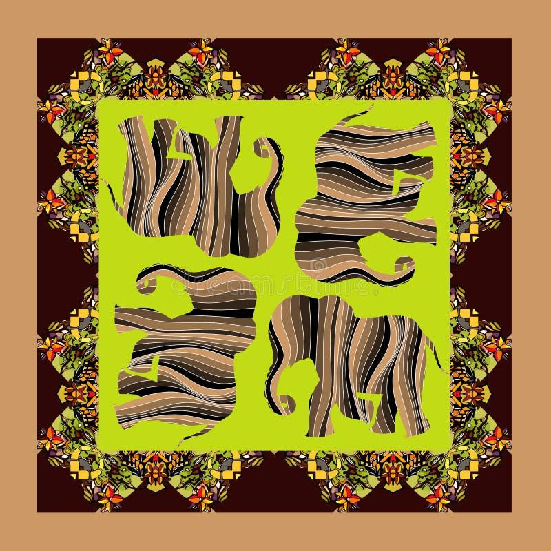 afrika Reizende Tischdecke oder Steppdecke Ethnischer Bandanadruck mit Verzierungsgrenze vektor abbildung