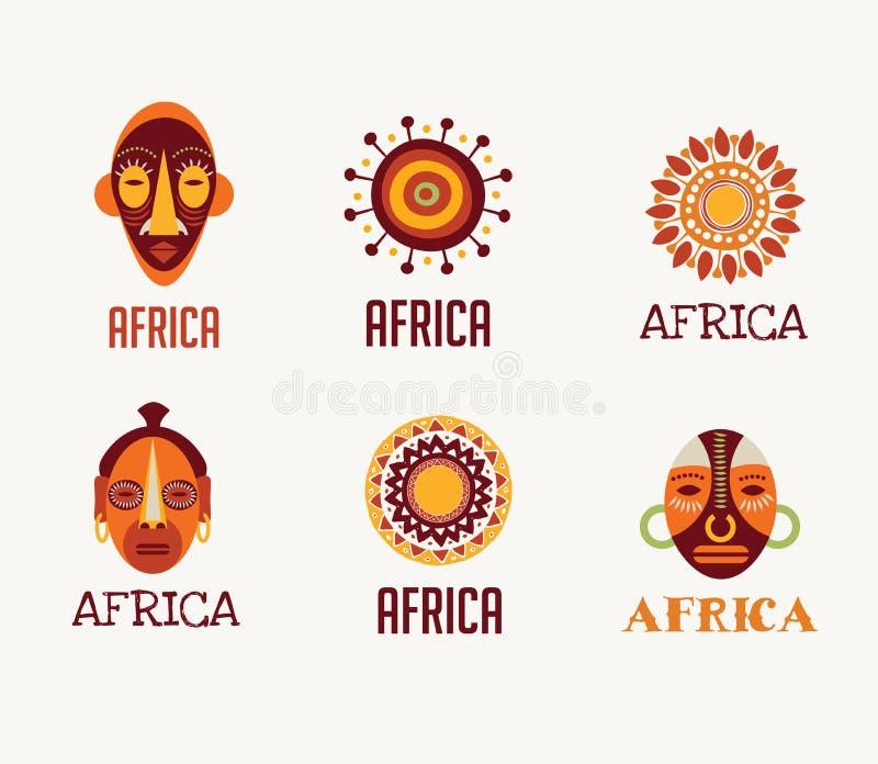 Afrika, safarisymboler och beståndsdeluppsättning royaltyfri illustrationer