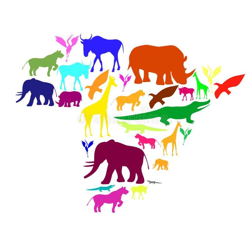 Afrika-Schattenbild mit Tieren. stock abbildung