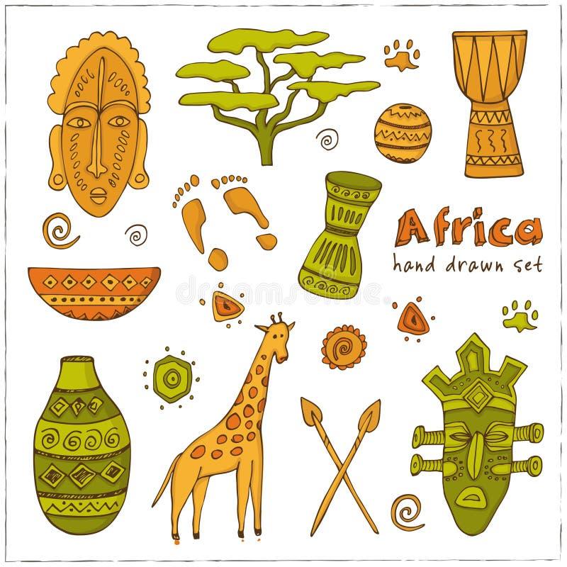 Afrika skissar symbolsuppsättningen vektor illustrationer
