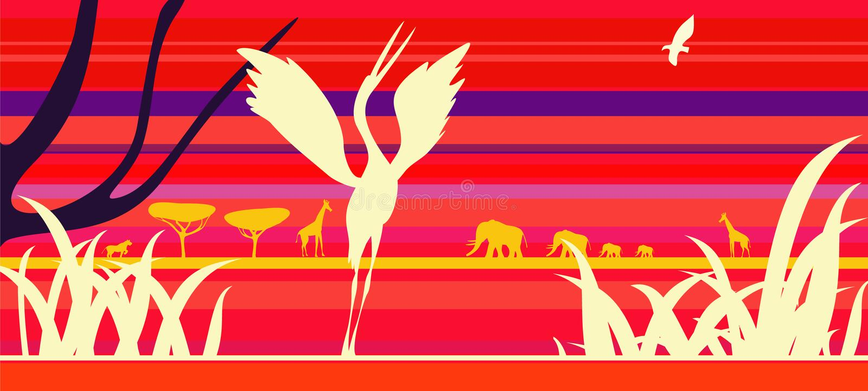 Afrika-Sonnenuntergang mit Tieren. stock abbildung