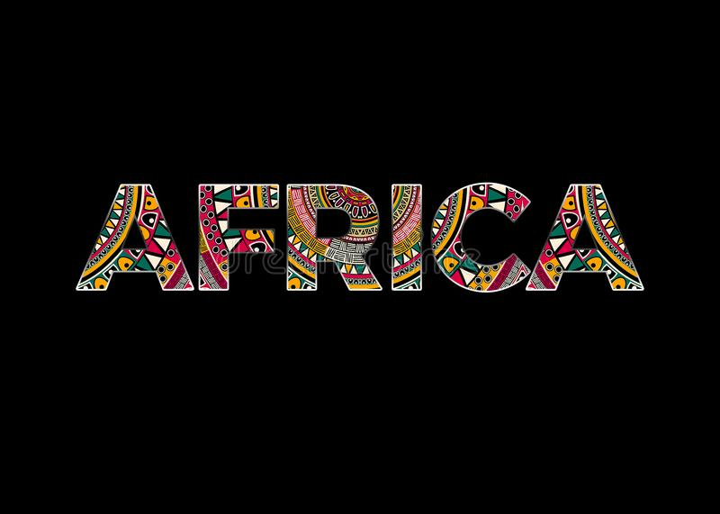 Afrika stiliserade text med svart bakgrund arkivbild