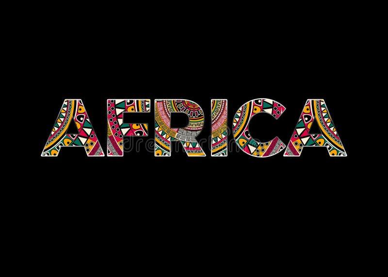 Afrika stilisierte Text mit schwarzem Hintergrund stockfotografie
