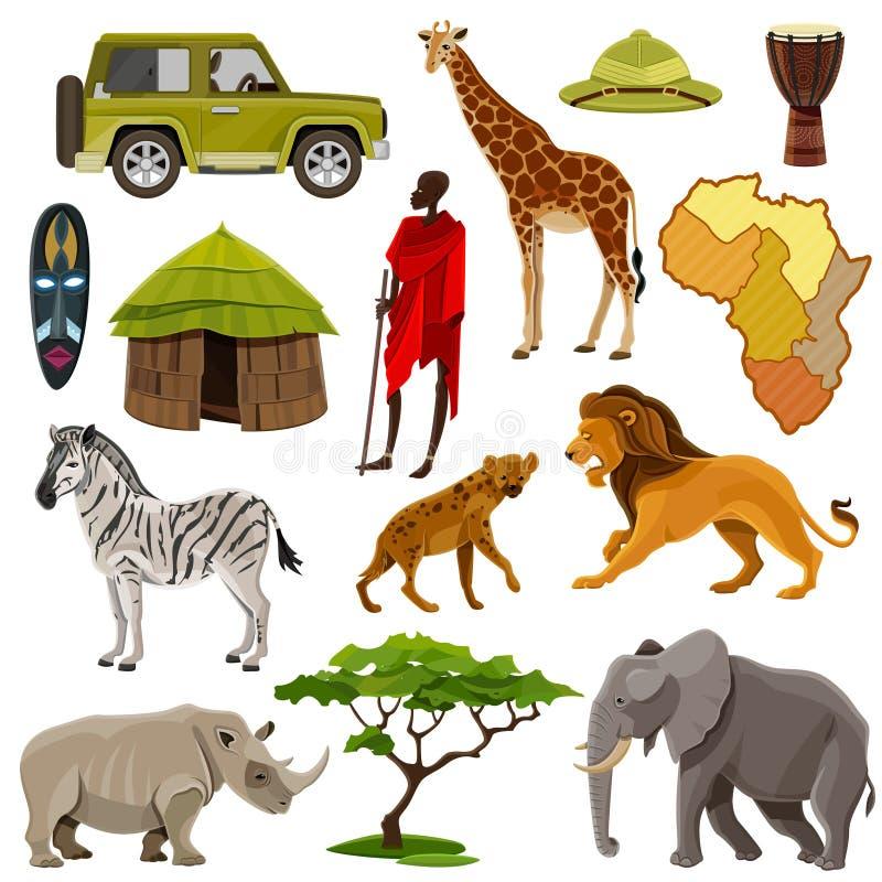 Afrika symbolsuppsättning royaltyfri illustrationer