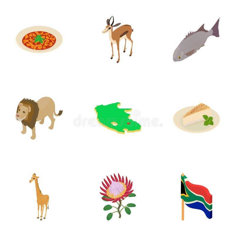 Afrika symbolsuppsättning, isometrisk stil royaltyfri illustrationer